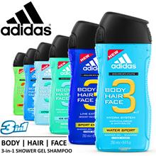 ★ ADIDAS ★ 3-in-1 Unisex Shower Gels Shampoo. Multitasking for Face Body Hair.