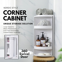 Nordic Corner Storage Bathroom / Kitchen / Dressing Table Storage Minimalist Storage 360 Swivel Door
