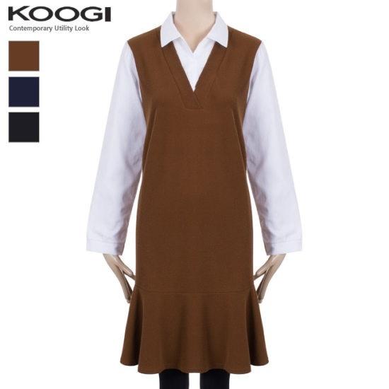 釘宮シャツ配色フリルのワンピースKK3OP3128A 綿ワンピース/ 韓国ファッション