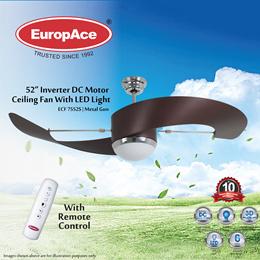 EuropAce ECF 7552S 52 Deluxe Inverter DC Celing Fan - Metal Gun (Buy 1 Get 1 Free)