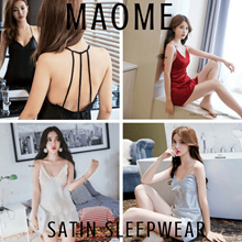 [Maome] Korea High Quality Satin Lace Lingerie Sleepwear Slip Dress Pyjamas Korea Dress