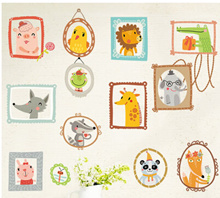 2/set Removable wall stickers childrens room European style bedside animal cartoon stickers nursery