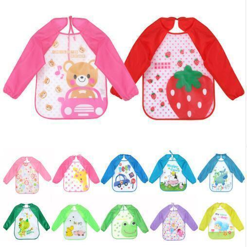 Qoo10 - Baby Bibs Infant Cartoon Printed Long Sleeve Waterproof ... 1c2f754773