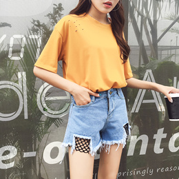 Women Ripped Denim  Shorts | Rose Embroidery Fishnet Casual Overall Dungaree |Denim Skirt Pants