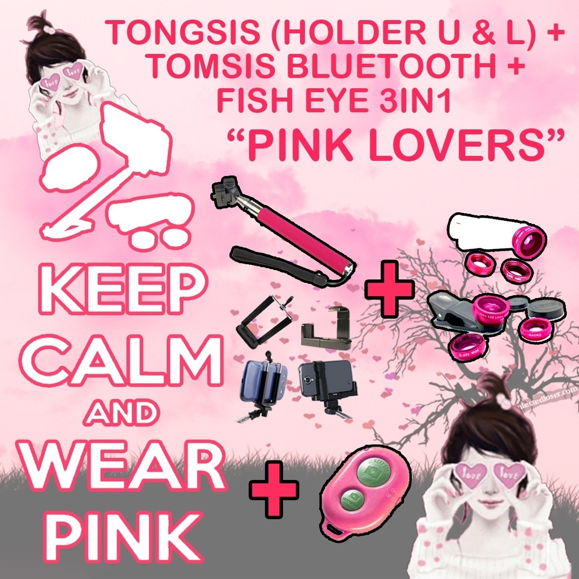Qoo10 Pink Lover New Colour Tongsis Tomsis Bluetooth Fish Fit To Viewer