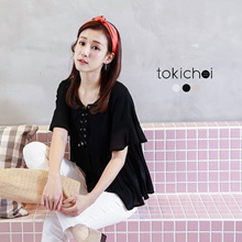 TOKICHOI - Pleated Top With Frill Detail and Tie Front-6011164