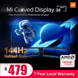 【Xiaomi】Mi Curve Display 34-inch | WQHD | 1500R View  144Hz | Flicker Free Freesync
