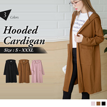OB DESIGN ★ OBDESIGN ★ ORANGEBEAR ★ LONG SLEEVE HOODED TUNIC CARDIGAN ★ 3 COLORS ★ S-XXXXL SIZE ★