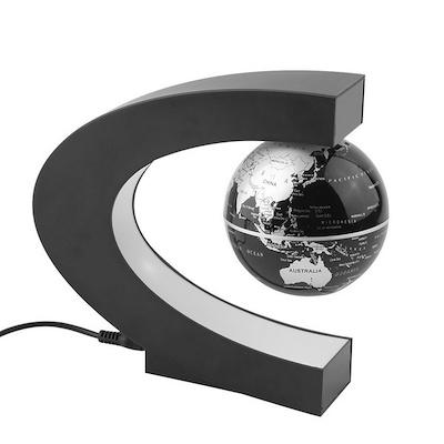 c shape led world map decoration magnetic levitation floating globe light isps color