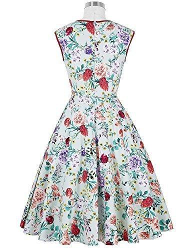 Floral 60s Vintage Wiggle Dress for Women Size S VL7600-3