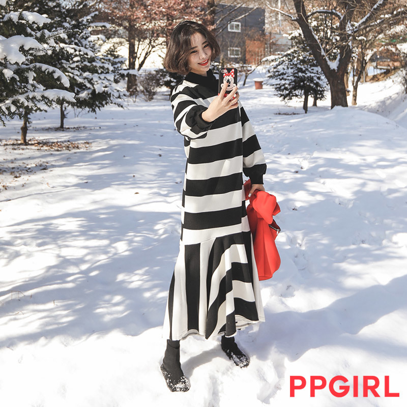 ♥送料 0円★PPGIRL_B214 Stripe long dress / napping dress / frill dress / mermaid dress / stripe dress /