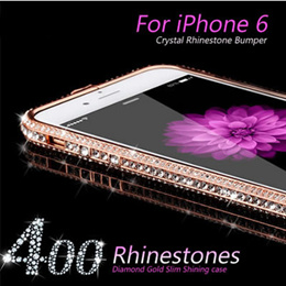 Luxury Crystal Rhinestone Bumper Frame For iPhone 6 Diamond Gold Slim Shining Bling Metal Case For iPhone6 4.7inch