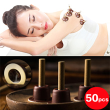 SUPER SALE!$7.9 ★50pcs★ Mini Moxa Moxibustion Acupoint Sticking Moxa Candle Moxibustion Tube Paste Self-Stick Massager