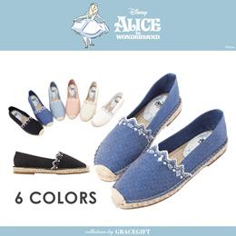Gracegift-Disney Alice Emboridery Espadrilles/Women/Ladies/Girls Shoes/Taiwa