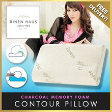 ★JAPAN BRAND★ Rinen Haus Charcoal Memory Foam Contour Pillow