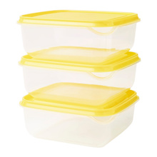 IKEA PRUTA Tempat makanan transparan kuning 14 x 14 x 6 cm isi 3 pcs