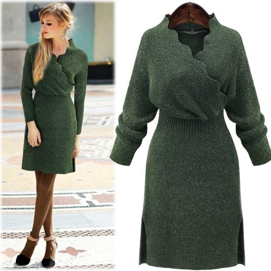 ペションプルDRS14770 Flamorous Feminine Wave Dress ニット・ワンピース/ 韓国ファッション