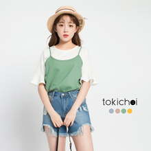 TOKICHOI - Two-piece Ruffled Sleeve Blouse and Tank Top-170593