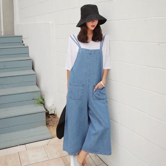 ポラムツーポケットのデニムjs 綿ワンピース/ 韓国ファッション