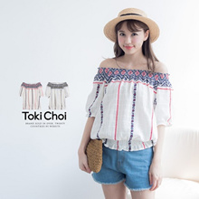 TOKICHOI - Tile Print Off-The-Shoulder Top-6011214