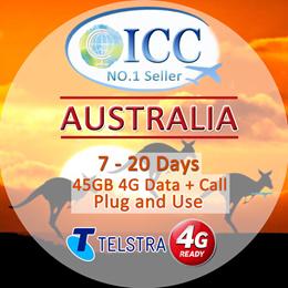 ◆ ICC◆【Australia Sim Card 】Telstra❤ Data+Call/SMS❤45GB 4GLTE data+Call(can call SG)❤Plug and Use