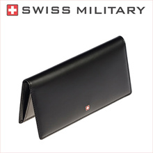 ★SWISS MILITARY★ Mens Extra Genuine Leather Long Wallet / 2 dollars for lucky