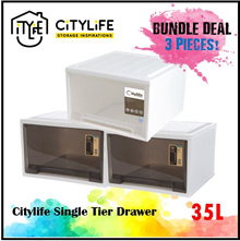 BUNDLE of 3 * Citylife Single Tier Drawer 35L * Stack-able and sturdy design