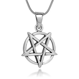 Chuvora Sterling Silver 18 mm Inverted Pentagram Pentacle Star Pendant Necklace, 18 Inch Chain
