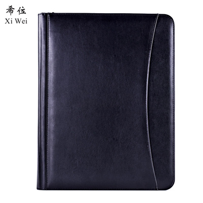 daa418212491 Pu Leather Portfolio Zipper File Folder Bag Notepad Multi-function  Cardholder Bag Document Organize