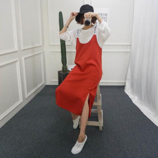 ピンクシスレースティンゴ吊りワンピース 綿ワンピース/ 韓国ファッション