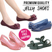 New Arrivals Hot Selling Jelly Shoes women shoes Summer Favourites Ribbon Jelly Heels Sandals Wedges