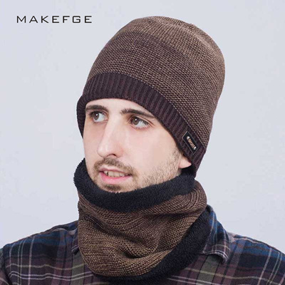 91ea9a578df scarf and hat Style Men s Winter Hat Scarf Sets Balaclava knitted Cap For  Men Outdoor