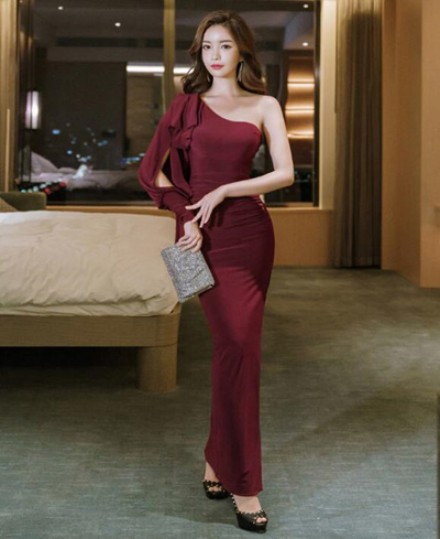 268ec96edcdd 2018 new Korean temperament evening dress dress Slim dress