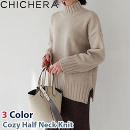 [CHICHERA] Korean fashion NO.1 / Cozy half neck knit