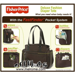 Fisher Price ** Authentic ** Deluxe Fashion Diaper Tote Bag with FastFinder ** Diaper Bag ** [ melrome.com ]