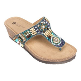 Womens White Mountain Brilliant Beaded Thong Sandal