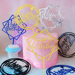★New Arrival★Cheapest Acrylic Cake Flags/Cake Toppers/Cake Tags/Happy Birthday/Anniversary/Christmas