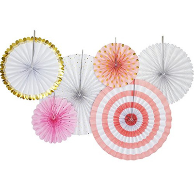 [CHLOE ELIZABETH] 55800P - Paper Fan Party Garland Decorative Kit - Set of  6 Fans, Party Pack by (P