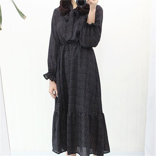 ドットシフォンロングワンピースnew プリントワンピース/ワンピース/韓国ファッション