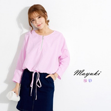 MAYUKI - Zip Front Blouse with Tie Detail-6020213-Winter
