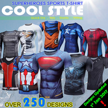 Updated 1st Jan 2017!  QUICK-DRY SPORTS T-Shirt List A Spiderman/batman/iron man/captain America/Hulk/superhero Cycling jersey/Short sleeve BICYCLE SPORTS Avengers Superhero cosplay Gym christmas gift