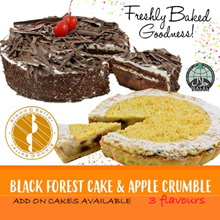 [BreadnBetter]  Black Forest Cake and Apple Crumble 1KG / Add On Cake (4 Flavours) / Halal Certified