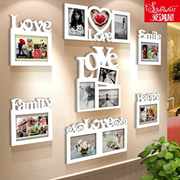 Love combination frame idea ornament specials for families couples children photo wall white wooden