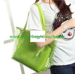 Korean version of the new wave of jelly bag handbag transparent bag beach bag sweet European and Ame