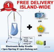 Electronic Baby Cradle + 7 Pcs Spring Cot + 1 pcs Sarong net | 3 type Motor |