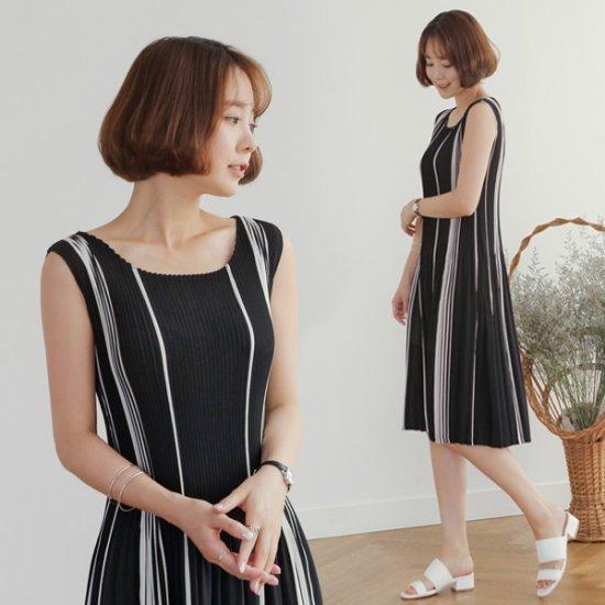 るみさん配色・プリーツナシワンピース 綿ワンピース/ 韓国ファッション