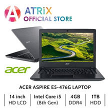 Acer Aspire E5-476G | 14 HD | Intel i5-8250 | 4GB Ram | NVDIA 2GB DDR5 | 1TB HDD | 1Yr Acer Warranty