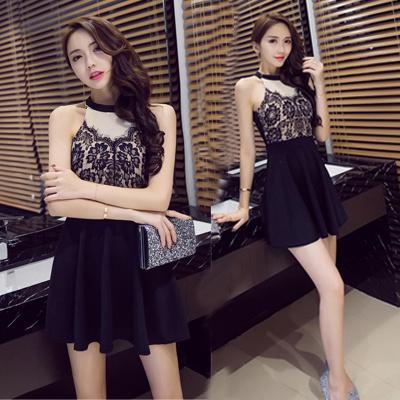 新型夏服2017韓国ファッションレースの無袖のワンピースは修身が修身します
