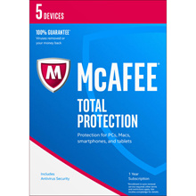 McAfee Total Protection 2018 for 5 or 10 or unlimited devices 1 year - activation code license