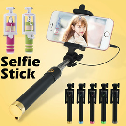 Pen Size Selfie Stick ◇ Monopod with Shutter Button for hand phone  pocket size Cable Control Holder